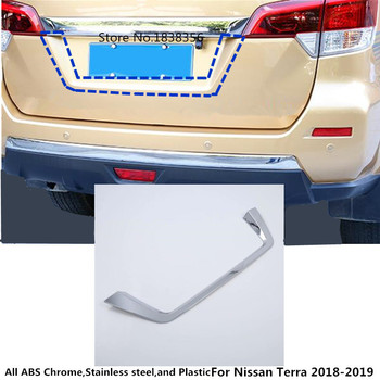 Top Car styling stick detector ABS chrome back Rear license frame plate trim Strip bumper hood 1pcs For Nissan Terra 2018 2019