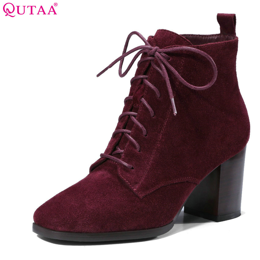 QUTAA 2018 Lace Up Fashion Women Ankle Boots Square High Heel Women Shoes All Match Square Toe Ladies Ankle Boots Size 34-39 platform square heel half short real leather boots women fashion round toe zipper shoes lace up female bootie size 34 39