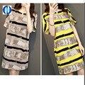 PIKB 2016 PLUS SIZE dress middle sleeve cotton linen women dresses 4XL loose soft fabric printed yellow khaki lady dress