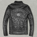 URBANBARON Men's Vintage Skulls Leather Motorcycle Jackets Black Stand Collar Genuine Cowskin Slim Fit Winter Biker Coats