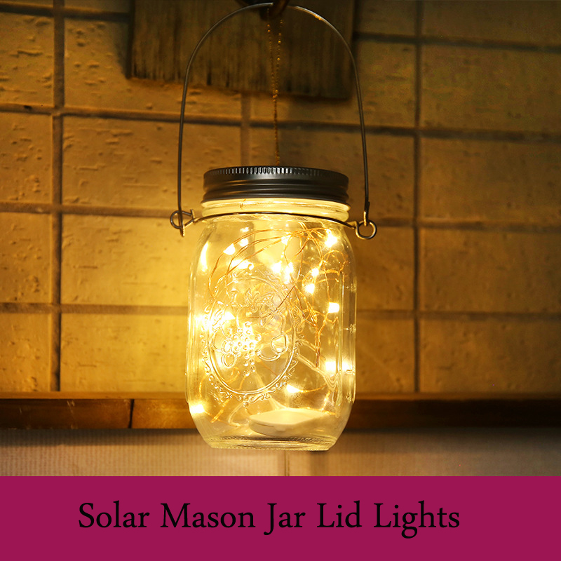 Battery Operated lamps LED Mason Jar Lid copper wire String Lights 2m Solar Christmas garland party wedding decoration holiday