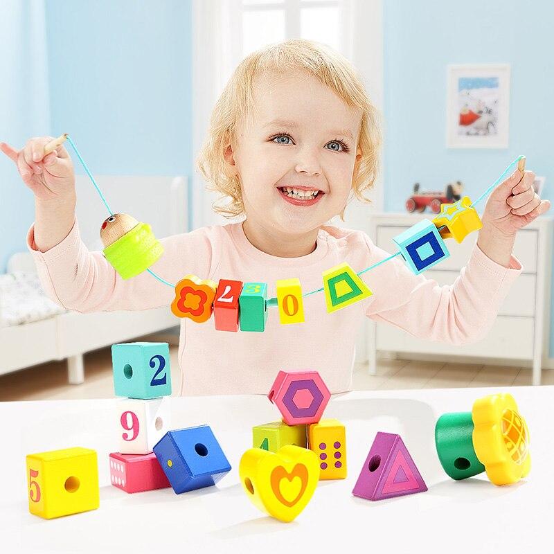 TOPBRIGHT Montessori apprentissage éducation multicolore magique insecte enfant jouet en bois Puzzle bébé train doigts flexibilité