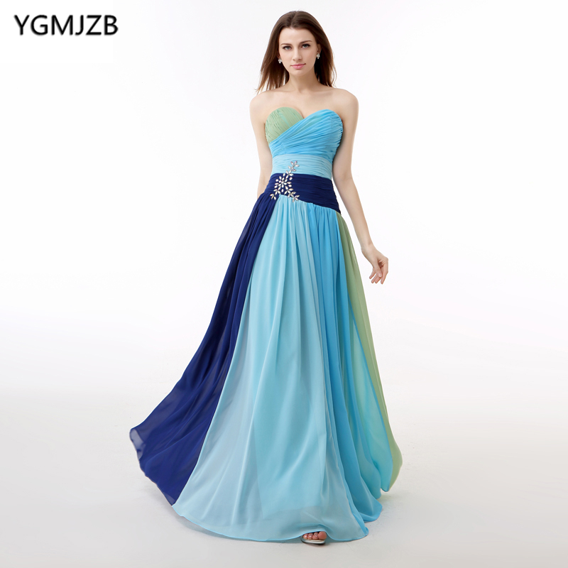 Colorful Rainbow Evening Dresses Long 2018 A Line Sweetheart Crystals Chiffon Formal Evening Gown Plus Size Backless Prom Dress