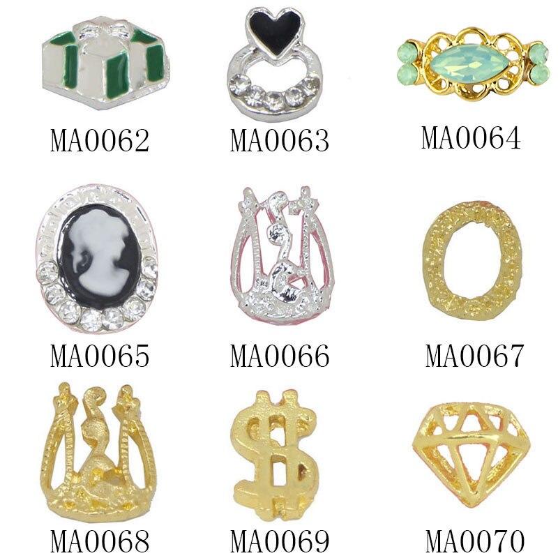 10Pc/ Lot New Design Gold Silver 3D Nail Art Decoration US Dollar Diamond Shape Nail Stud Women Fingernail Decor Supply