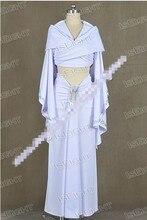 Star Wars Padme Amidala White Dress Cloak Uniform Cosplay Costume Halloween