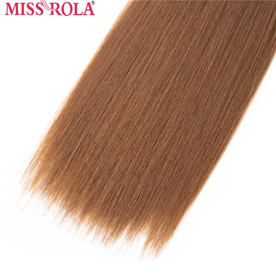 Miss Rola trama de pelo lacio sintético Ombre pelo de color 8-14 pulgadas 4 + 1 piezas/paquete 200g T1B/30 paquetes de tejido con cierre gratis