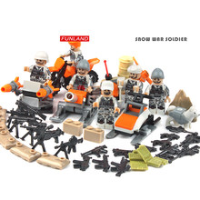 Modern military brickmania figures Snowy Warrior building block army forces dog minifigs snowmobile sled weapon bricks toys(China)
