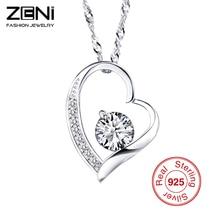 Zeni Heart Necklace Women Classic Love Heart Pendant Charms Silver Jewelry Necklaces & Pendants for Women