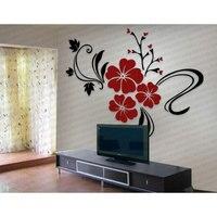 BEST Wall Sticker Acrylic Decorations 3D Art Red Flower Wall Sticker Home Room TV Home Decor