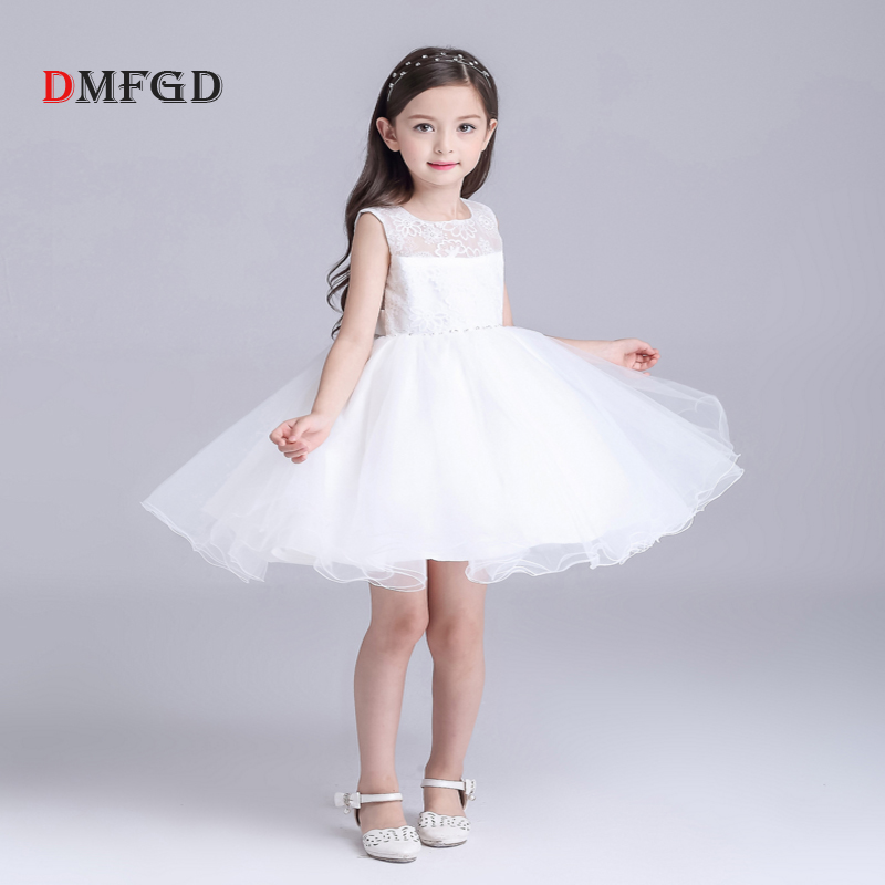 2018 New Lace kids dress white ball gown princess dress for girl Fashion children party toddler girls summer child clothing new girls dress summer lace vest sleeveless princess peng baby girl children england style knee length crew neck ball gown