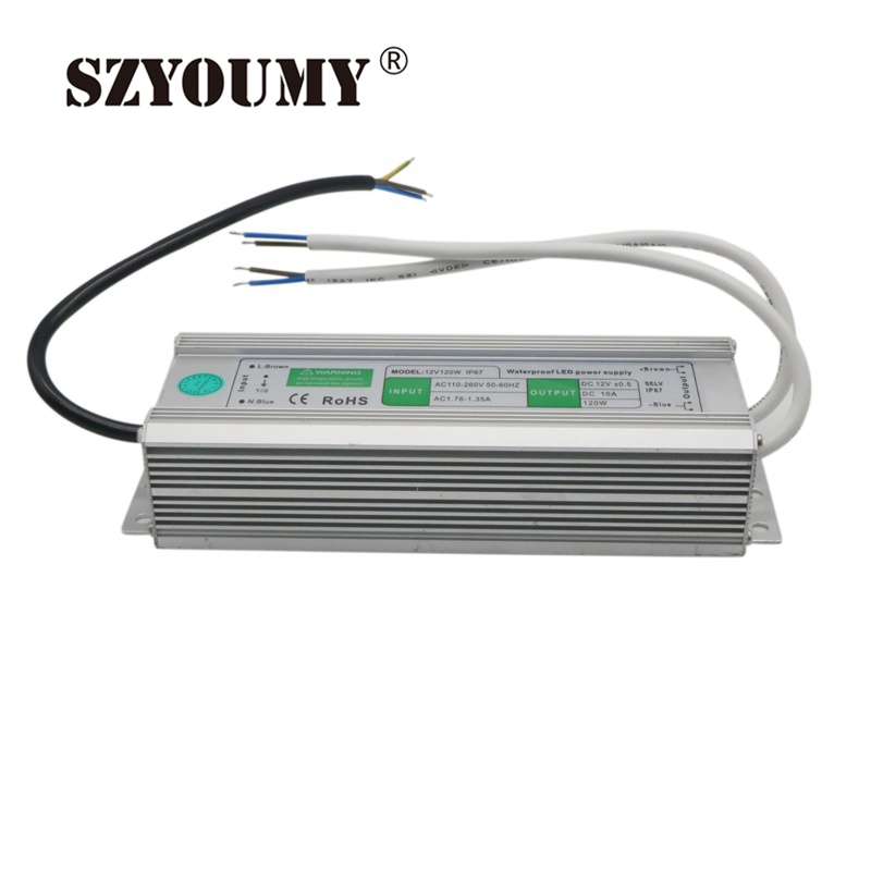 SZYOUMY LED Waterproof Power Supply <font><b>12V</b></font> 10A <font><b>120W</b></font> OutDoor LED Waterproof Light <font><b>Electronic</b></font> <font><b>Transformer</b></font> Power Supply Driver image