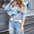 Mcckle moda mujeres blusa camisas con volantes cuello fuera del hombro de manga larga corbata de lazo causal flojo tops blusas mujeres clothing