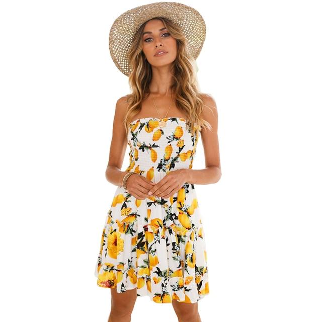 Lemon Print Women Beach Summer Dress 2018 Fashion New Ruffles Backless Short  Mini Sexy Party Dress Female Bohemian Vestidos c69b8324dc80