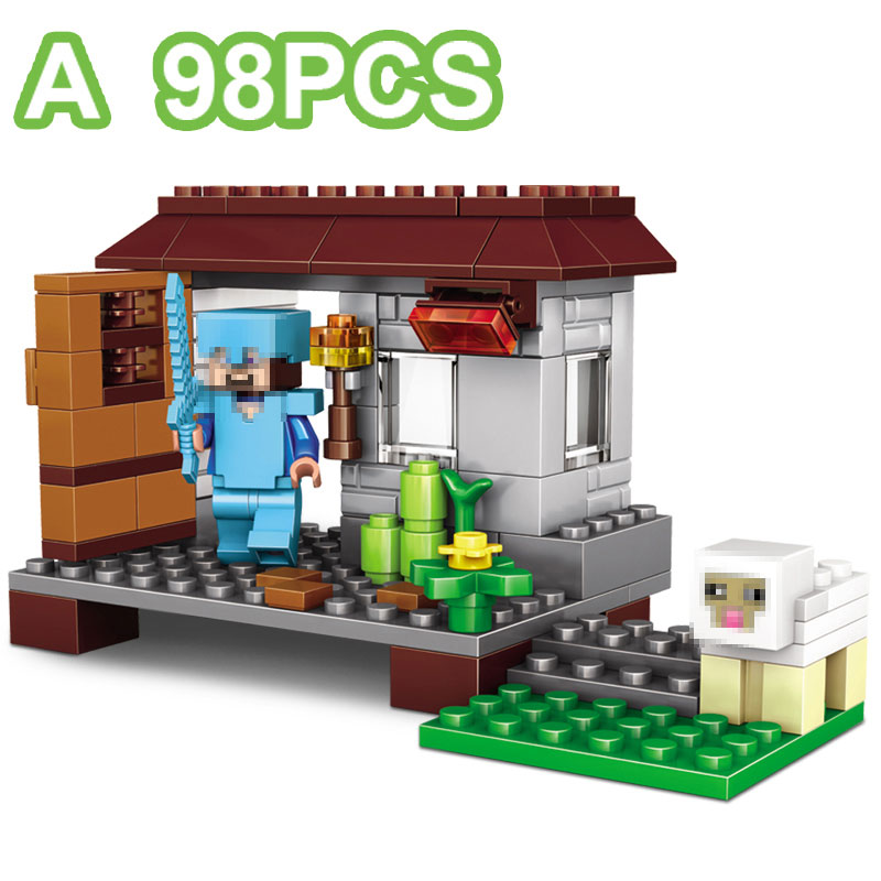 Minecrafted The Village Farm Cottage Zombie Cave 390 Pcs 4 in 1 Building Blocks Toys For Children Compatible Minecraft Legoing 1