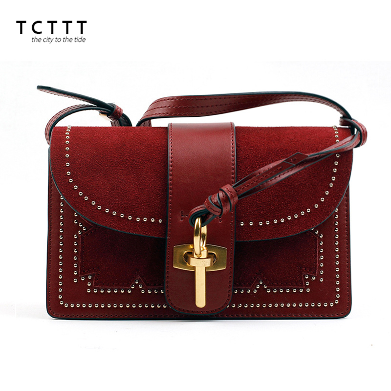 TCTTT luxury handbags women bags designer Fashion women's leather Shoulder bag High Quality Rivet Brand Crossbody Messenger bag 2018 brand designer women messenger bags crossbody soft leather shoulder bag high quality fashion women bag luxury handbag l8 53