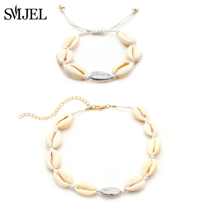 SMJEL 2019 New Shell Necklace for Women Boho Seashell Pendant Necklace Natural Shell Gold Cowrie Choker Gifts for Best Friend in Choker Necklaces from Jewelry Accessories