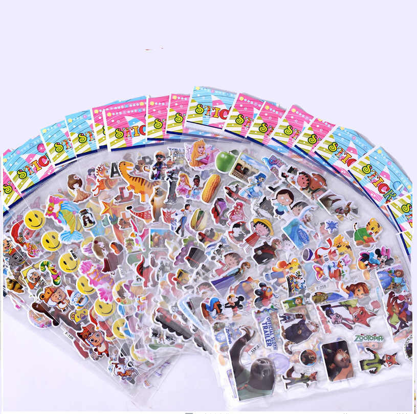 8pcs/lot cartoon patterns Fashion Brand Kids Toys Cartoon 3D Stickers Children girls boys PVC Stickers Bubble Stickers