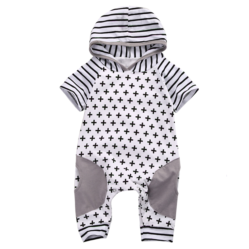2017 Cute Newborn Baby Rompers Infant Bebes Boys Girls Short Sleeve Printed Baby Clothes Hooded Jumpsuit Costume Outfit 0-18M 2016 new newborn baby boys girls clothes rompers cotton tracksuit boys girls jumpsuit bebes infant long sleeve clothing overalls