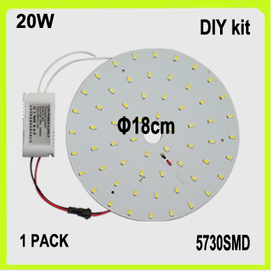 novidade diy kit 20 w circular levou placa pcb disco levou teto montagem em superficie luz