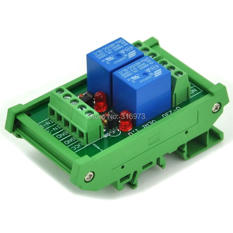 DIN Rail Mount 2 SPDT Power Relay Interface Module, 10A Relay, 48V Coil.DIN Rail Mount 2 SPDT Power Relay Interface Module, 10A Relay, 48V Coil.
