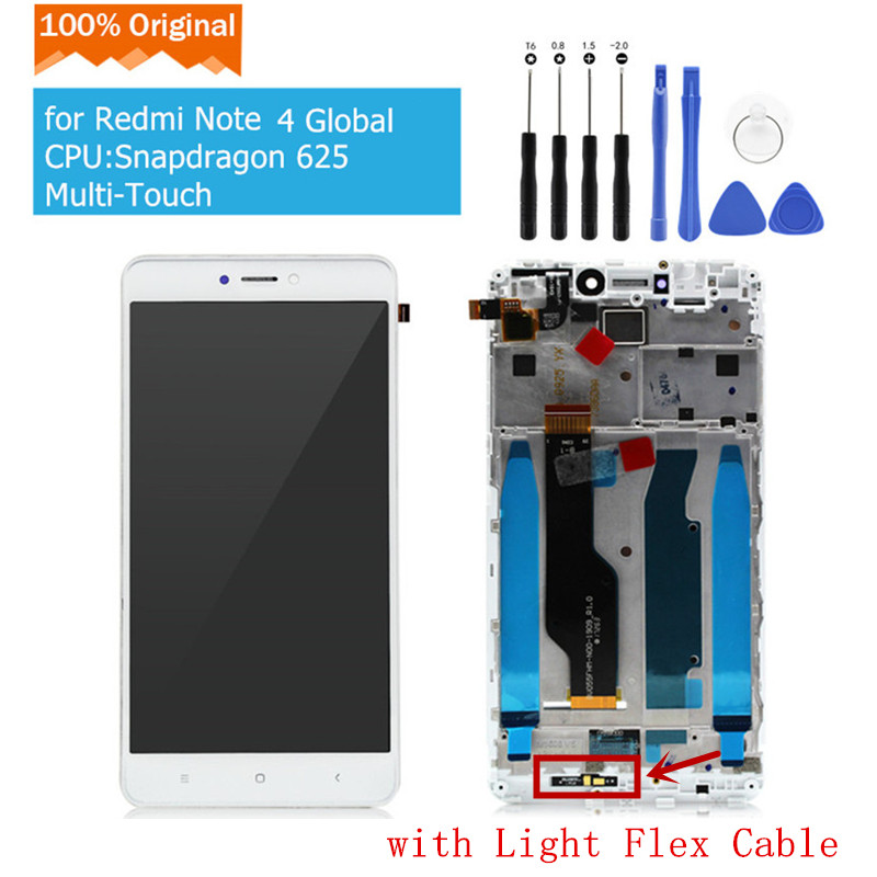 Original for Xiaomi Redmi Note 4 Global LCD Display Touch Screen Glass Panel Digitizer with Frame
