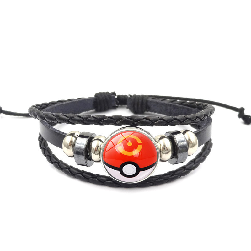 Pokemon Jewelry with Glass Cabochon Pokemon Ball Pattern Charm Leather Bracelet Bangle for Men Women Gift