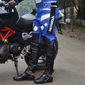 Alta calidad de los hombres faux leather motorcycle racing pu pantalones a prueba de viento automático compitation moto de tres colores el envío libre