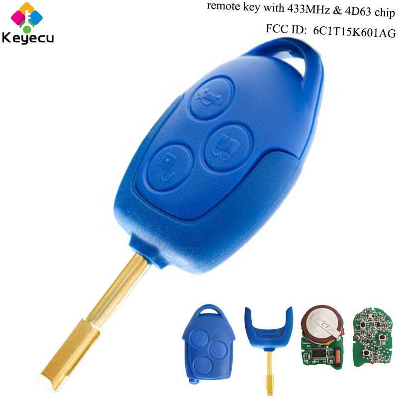 KEYECU Replacement Remote Key - 3 Buttons & 433MHz & 4D63 Chip - FOB for Ford Transit WM VM 2006-2014 FO21 FCC ID: 6C1T15K601AG keyecu replacement remote key 2 buttons