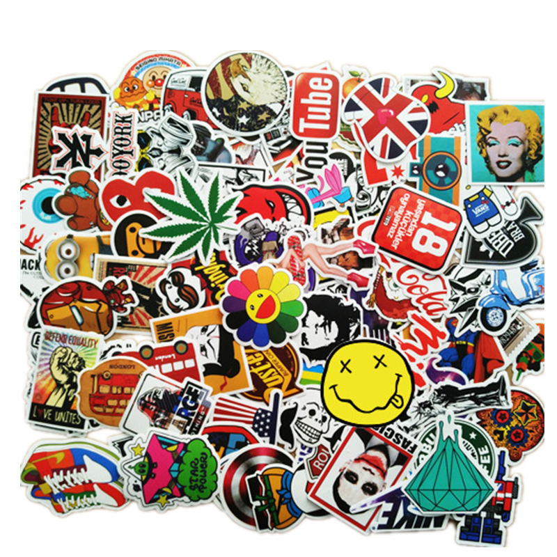 100 PCS / Pack Mixed Single Stickers On Cars Waterproof Decor Doodle Laptop Motorcycle Bike Travel Case Decal Car Accessories