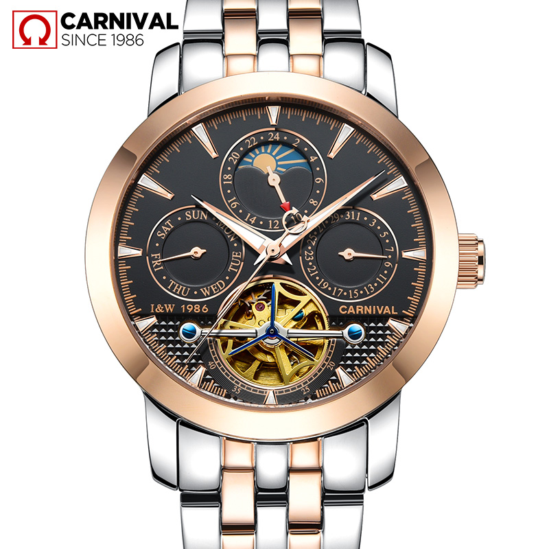 Фото Fashion tourbillon watch men Moon Phase Stainless steel Automatic mechanical Sapphire waterproof black watch relogio masculino