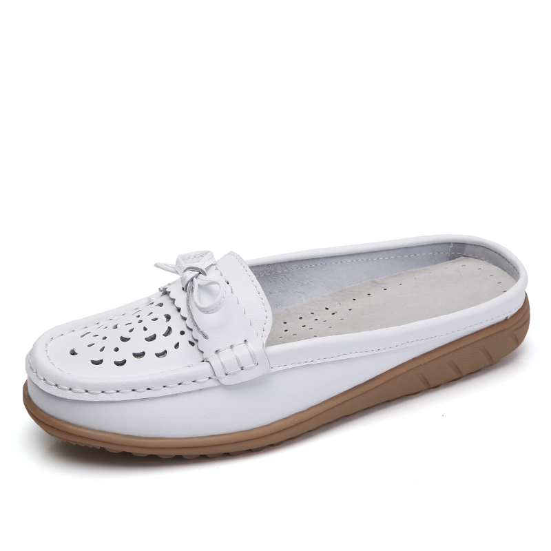 DQG 2018 Spring Women Shoes Oxfords Casual Slip On Flats Zapatos Mujer Summer Hollow Breathable Solid White Ladies Shoes instantarts women flats emoji face smile pattern summer air mesh beach flat shoes for youth girls mujer casual light sneakers