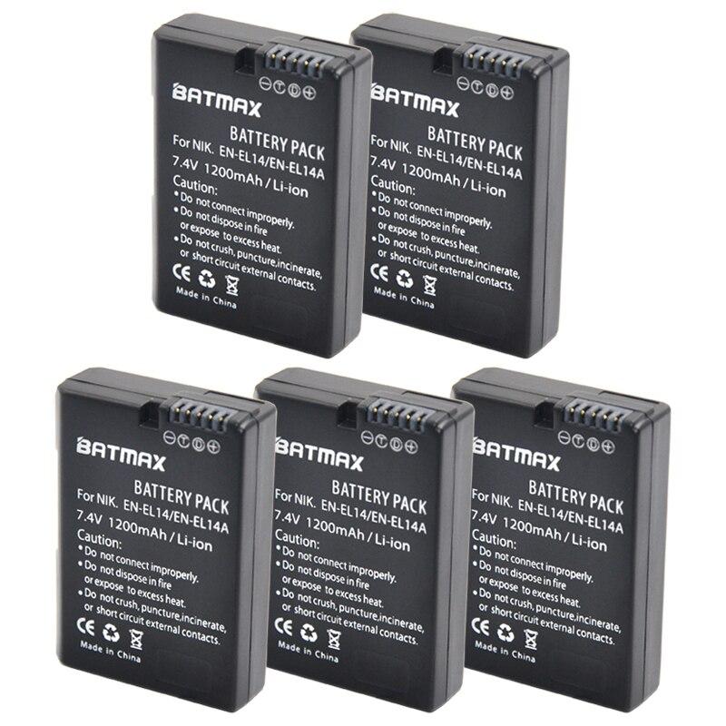 5 Pcs EN-EL14 EN-EL14a ENEL14 EL14 1200 mAh Batterie pour Nikon P7800, P7700, P7100, P7000, D5500, D5300, D5200, D3200, D3300, D5100, D3100, Df