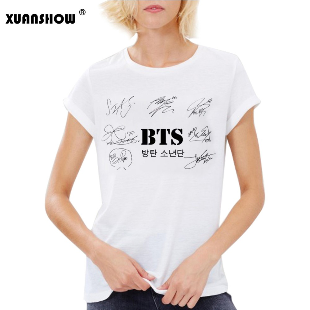 XUANSHOW Fashion Cotton T-shirt Girl tshirt Woman Summer BTS Signature Print Casual Women's Tops Plus Size S-XXL Camisetas Mujer
