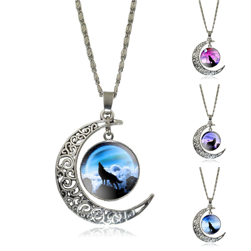 XUSHUI XJ Howling Wolf and Moon Pendant Necklace Women Jewelry Art Glass Cabochon Silver Half Moon Chain Necklace Creative Gifts
