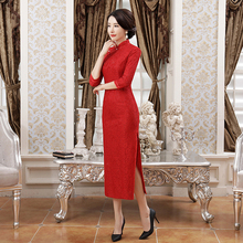 New Red Chinese Style Bride Bridesmaid Dress Elegant Women Lace Sexy Qipao Vintage Flower Long Cheongsam Plus Size 4XL