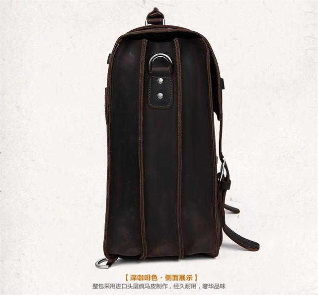 Vintage Crazy Horse Genuine Leather Backpack Men Travel backpack Large Fashion Men Backpack Leather laptop Backpack School bag