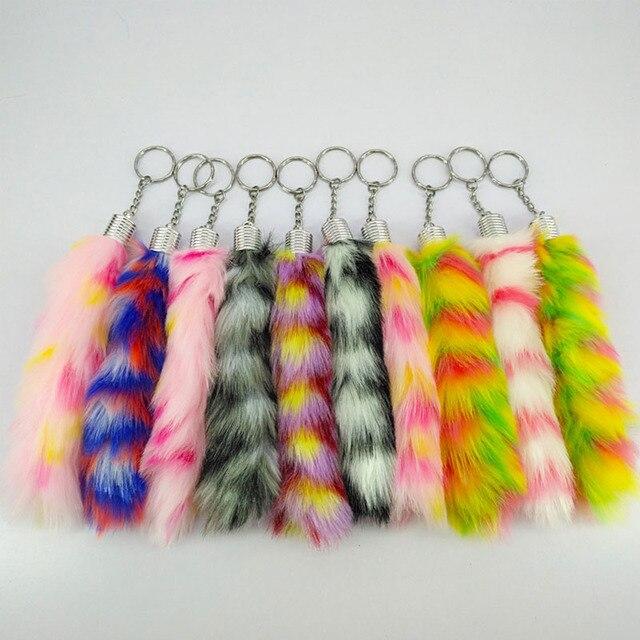 10 pcs Color Mix Bonito Cauda Sopro Listras Acrílico Chaveiros de Pele Meninas Pom Pom Chaveiro Coelho Chaveiro Carro Charme Saco KeyChain do IOS