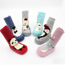 Baby Floor Socks Autumn and Winter Newborn Terry Warm Cartoon Animal Non-Slip Toddler Shoes with Rubber Soles