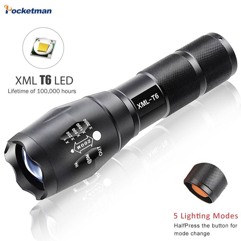 E17 XM-L T6 5000LM Impermeabile di Alluminio Zoomable CREE LED Torcia flashlight Luce Per 18650 Batteria Ricaricabile O AAA