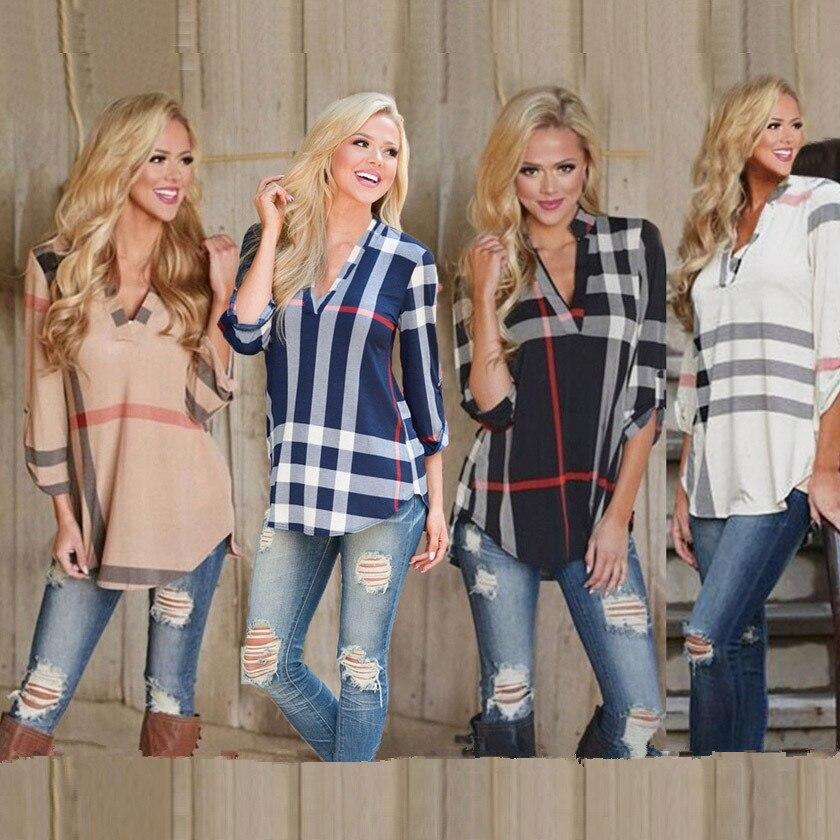 3XL 2018 новый черный лето Для женщин блузка Sexy v-образным вырезом шифоновая рубашка плюс Размеры длинные женские Повседневное свободная Клетчатая блуза дамы Костюмы