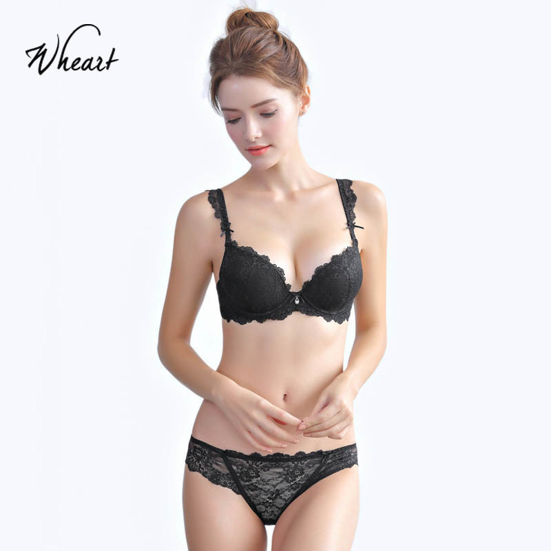 Wasteheart 2018 New Women Fashion Red Sexy Lingerie Sets Push Up Bras Lace Straps Bow Cotton Panties Underwire Padded Bra Sets in Bra Brief Sets from Underwear Sleepwears