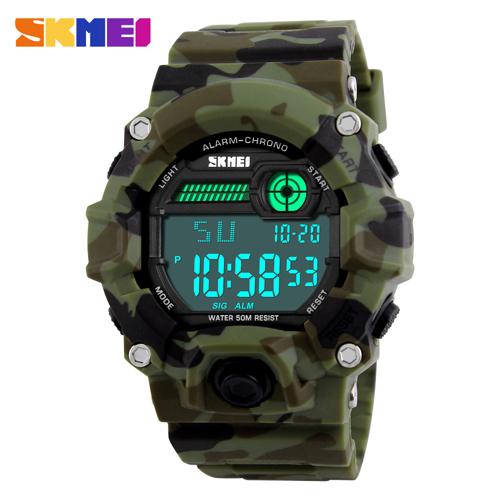 SKMEI S Shock Army Camouflage Watch Man Outdoor Military Watch Zegarek cyfrowy Wyświetlacz LED Fashion Mężczyzna Big Dial Sport Watch Men