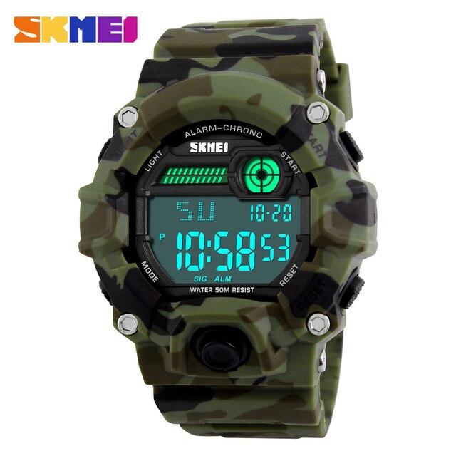 ff1bf7f22594 Skmei s choque camuflaje del ejército reloj hombre al aire libre Militar  reloj digital LED moda