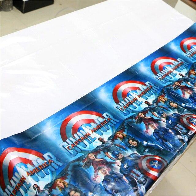 1 pçs/lote Capitão América Do Tema Festa Toalha de Mesa Feliz Aniversário Tablecover Crianças favores do Chuveiro Do Bebê Suprimentos de Super-heróis da guerra civil
