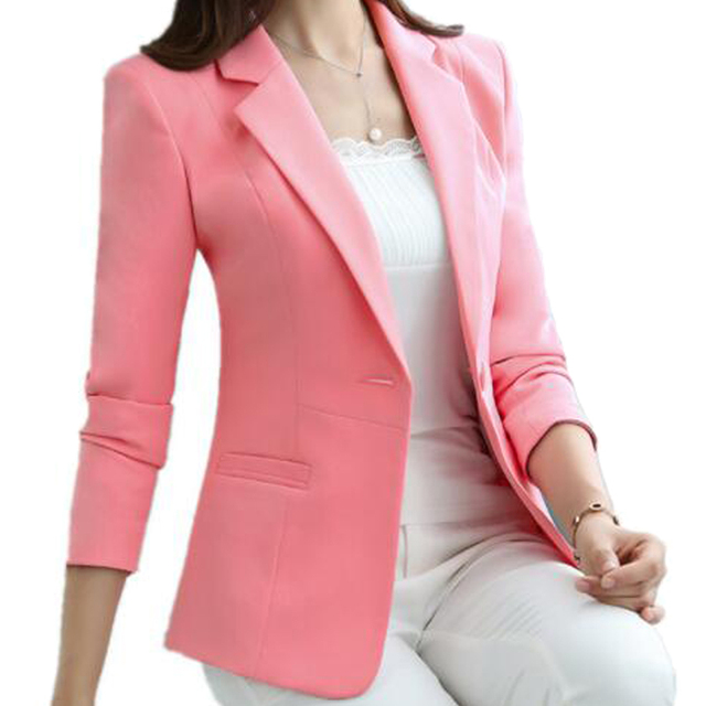 fa33f859b 4XL 5XL botón blanco Blazer Feminino Casual Slim moda abrigo corto chaqueta  mujer OL cómodo chaqueta