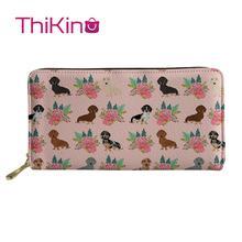 Thikin Dachshund Flowers Pattern Long Wallets  Zipper Phone Bag for Girls Clutch Purse Carteira Handbags Notecase 2019