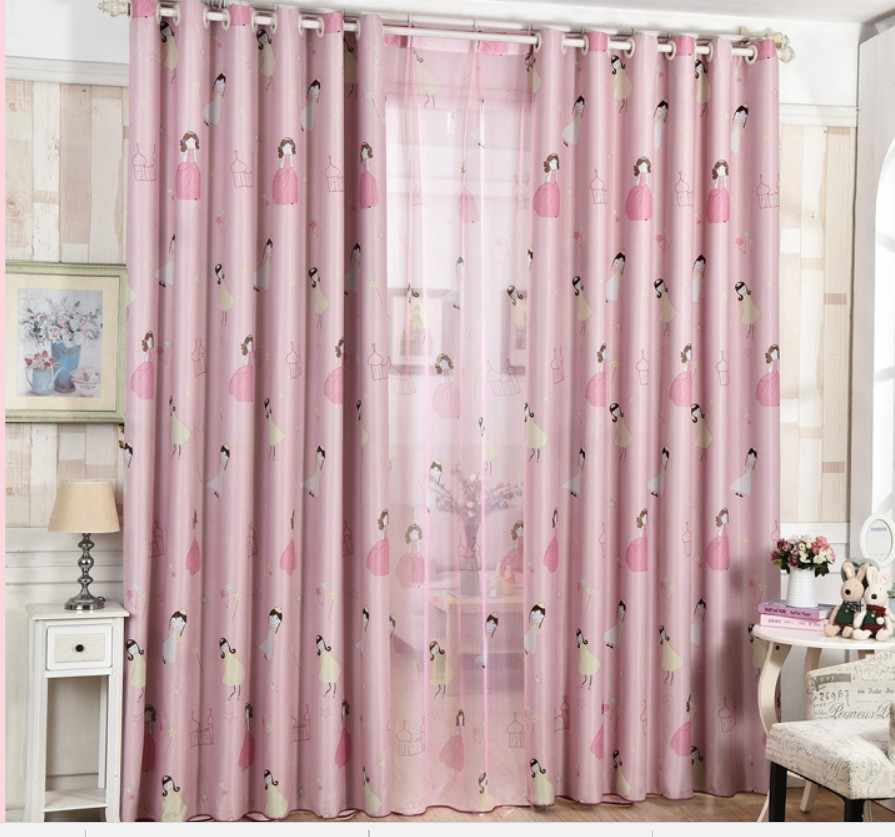 Customized Cartoon Blackout Curtains for Kids Bedroom Princess Girl Curtain Tulle Pink Tulle Curtains Drape For Living Room AA18