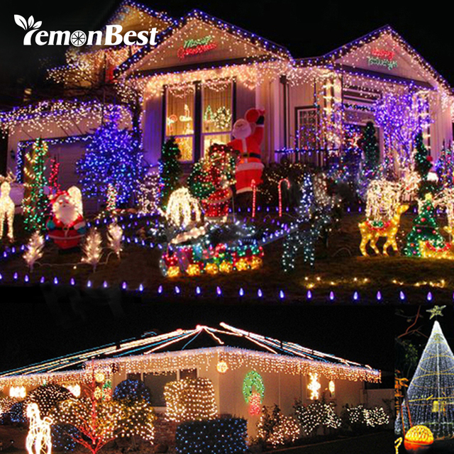 rgb 7w 10m 100 led indoor christmas lights outdoor string strip light christmas tree decorations for
