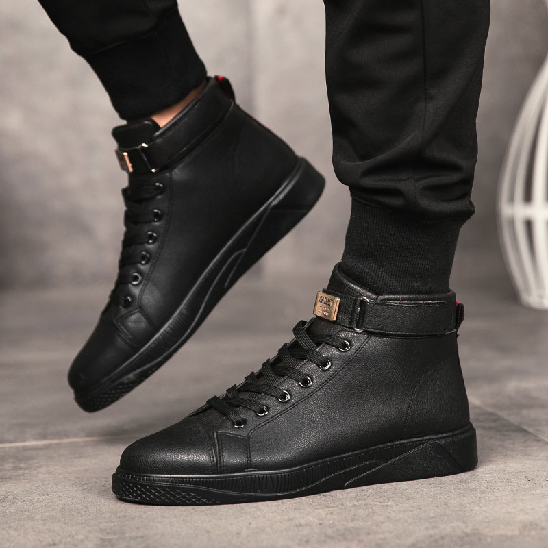 Fashion Casual Men Ankle Boots High Top Sneakers For Men All Black White Red Deisgner Shoes High Tops Zapatos De Hombre 2019