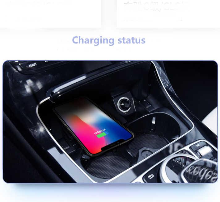 נייד טלפון QI טעינה אלחוטי Pad מודול רכב אביזרי עבור מרצדס בנץ W205 C180 C200 GLC 260 200 C- כיתת